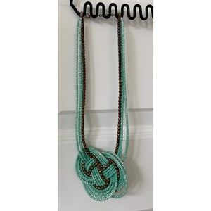 Turquoise and gold beaded knot necklace